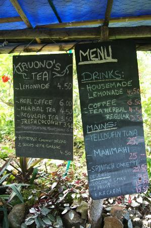 Tauono's: Menu for the day