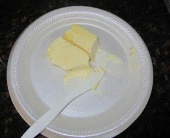 "Super 8 Cedar Falls: ""Butter"" to be used for all waffles, toast, etc.  Full of crumbs and ? else?"