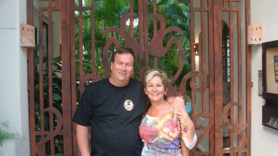 Jim and I at the front entrance to Royal Palms Condominiums