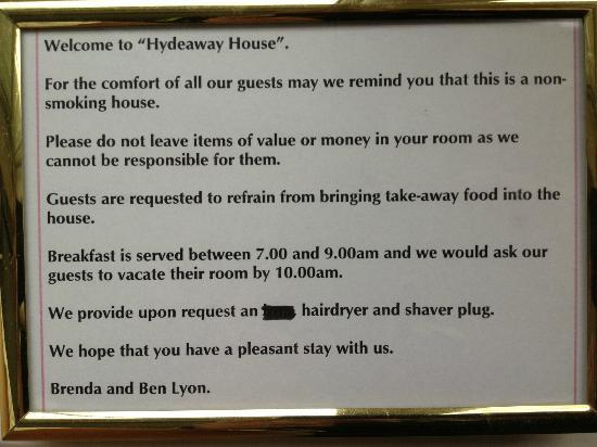 Hydeaway House: paragraph 2 items of value