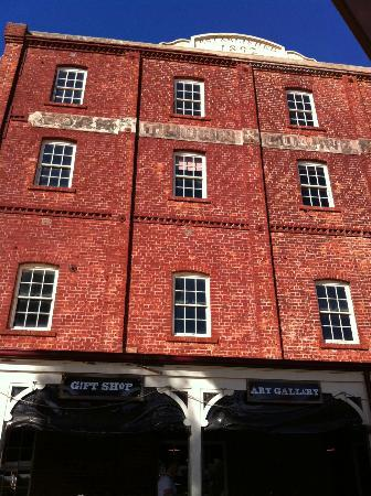 The York Mill Gallery: Historical mill exterior next to cafe