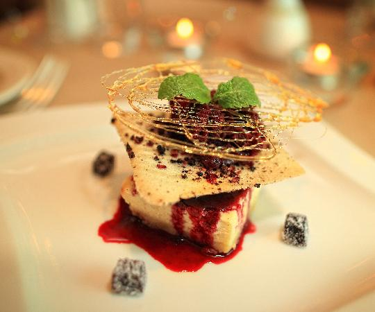 St. Tudno Hotel: Baked Vanilla Cheesecake, blackberry compote, fruit tuille