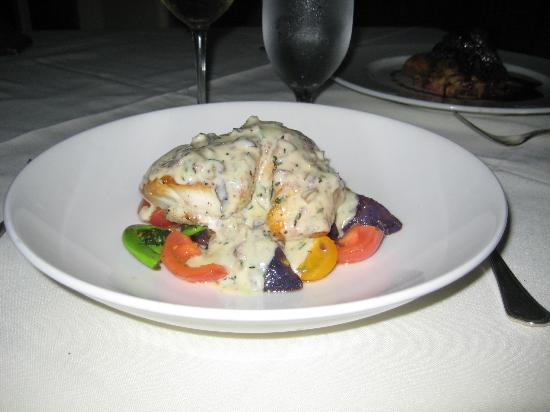 The Manor House Restaurant: Grouper with cream sauce, fiddlehead ferns, tomatoes and purple potatoes