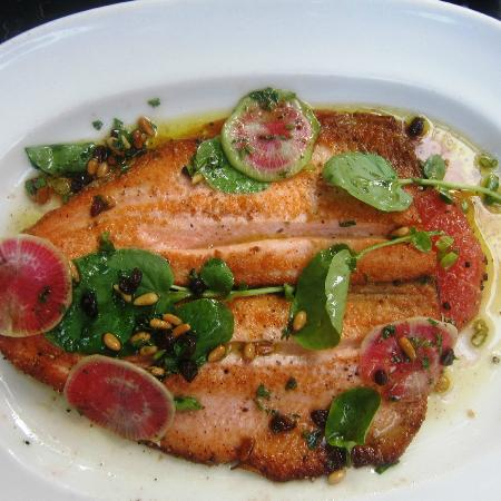 Hamersley's Bistro: Skillet-Cooked Pink Salmon-Trout with Radish, Arugula and
