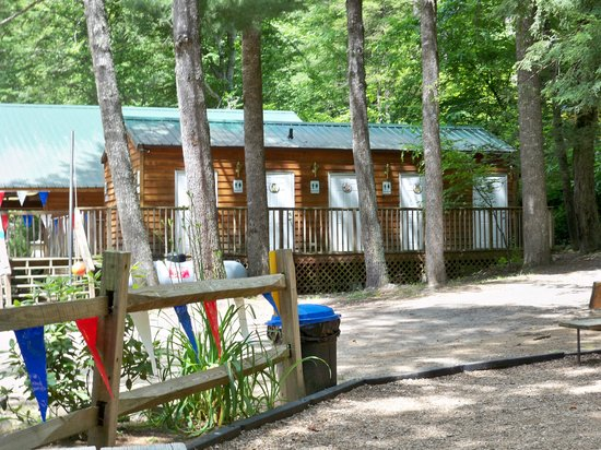 Yogi Bear's Jellystone Park Cherokee:                   Outside of bathhouse with private bathrooms