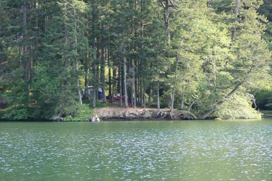 Moran State Park: View of our campsite from the lake