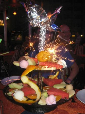 One of many free fruit platters