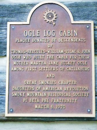 Historic Ogle Log Cabin : Ogle Cabin Plaque