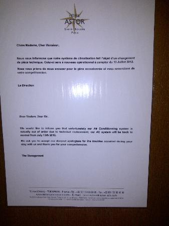 Hotel Astor Saint-Honore: Notice re no air conditioning