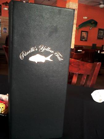 Rinelli's Yellow Tail: View of the Wine menu from inside the restaurant