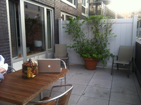 Sanctuary NYC Retreats: working on my rooftop patio in Rama Suite!