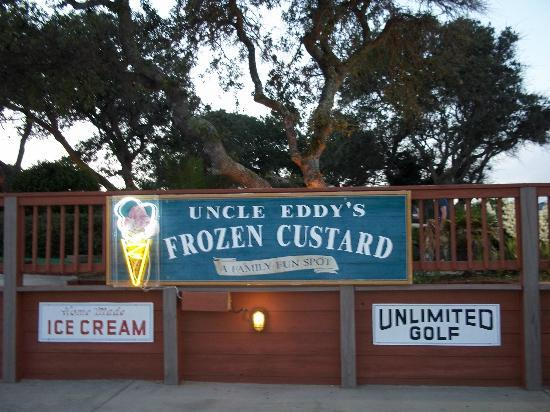 Uncle Eddy's Frozen Custard: The sign in front of the mini golf area, which is in front of the custard shop.