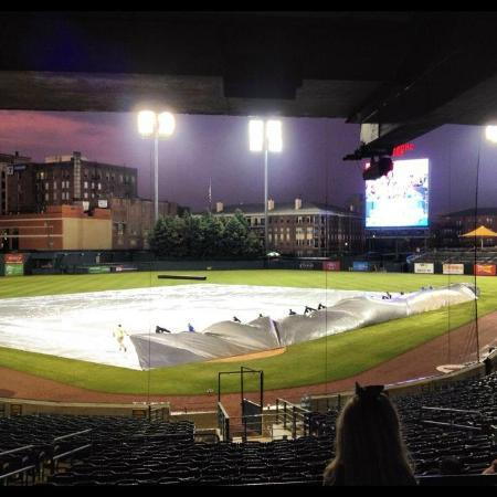 AutoZone Park: Game prep after rain delay