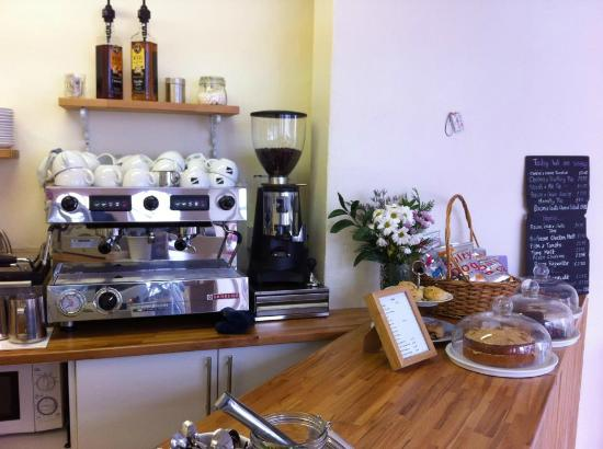 Millie and Me: Our counter area! We serve fair trade FatRoc Coffee