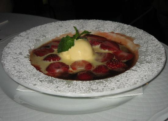 Cabana Fresca Restaurant : Strawberries flambeed with Pernod