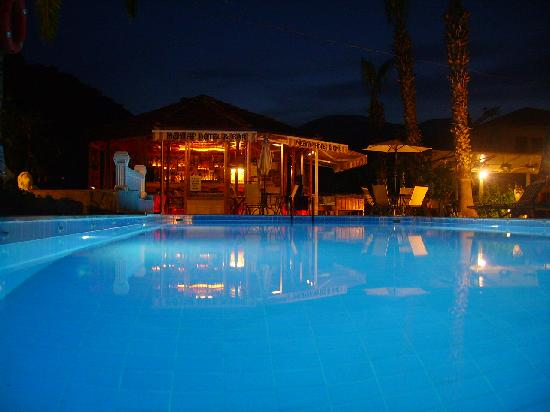 Mehtap Hotel Dalyan: the pool in the night