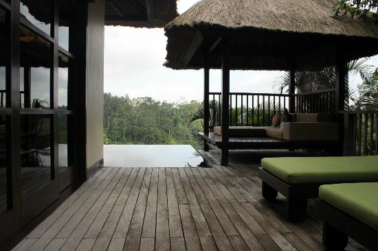 Hanging Gardens of Bali: Our Infinity pool/sunloungers taken from the outdoor shower