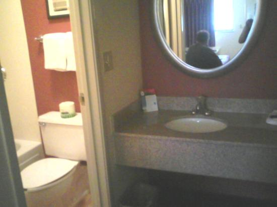 Red Roof Inn Cleveland East - Willoughby: Small bathroom.