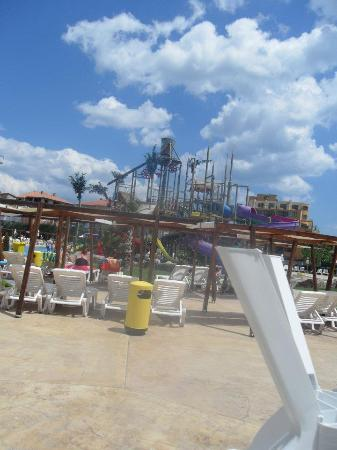 Aqua Nevis Clubhotel: A view across the aqua park(just a small area tho)