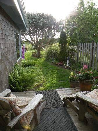 Boreas Bed and Breakfast Inn: The Garden Suite's private deck view in Springtime.