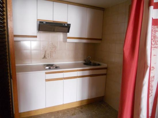 Foxa 32 Suites: Cocina que está inutilizada y la tapan.