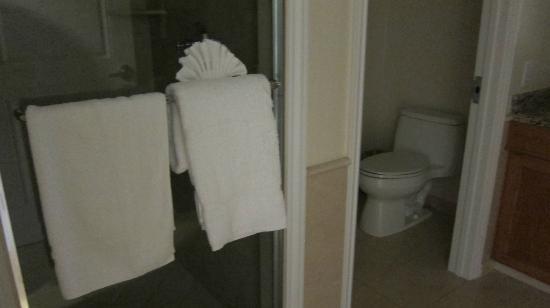 Balboa Bay Resort: Bathroom shower and enclosed toilet