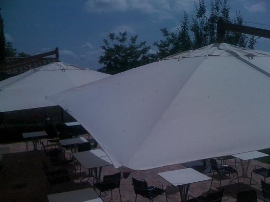Hotel Villa Ducci: pigeon droppings on the terrace umbrellas