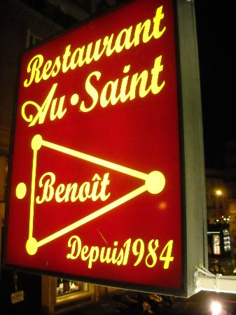 Au Saint Benoit: Restaurant sign from the private room window