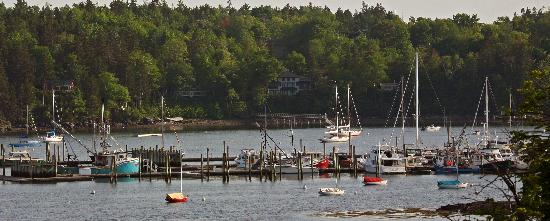 Water view of the working harbor as seen from Clark Point Inn