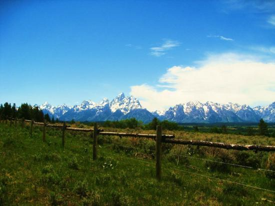Triangle X Ranch: Tetons (again) from the hill behind the ranch--we went on a hike Friday afternoon!