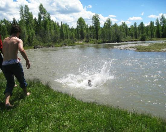 Triangle X Ranch : The teen ride went swimming in the river one day--the kids will come down here for rides too!