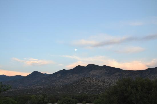 Sunglow Ranch - Arizona Guest Ranch and Resort: Partial Moon over Mountain Top