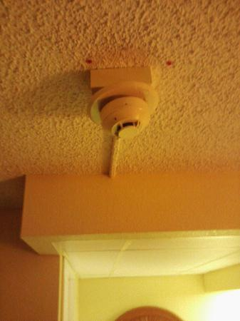 Rodeway Inn: Smoke detector partially detached from ceiling, not sure if it is working properly