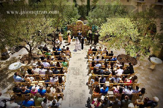 Courtyard Wedding Ceremony With Catering From Matisse Restaurant In Manhattan Beach