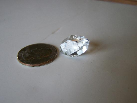 Herkimer Diamond Mines: One diamond had three crystals growing on it's back