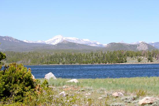 Lander, WY: Lake at the top of the mountain (note the snow on nearby mountain tops)