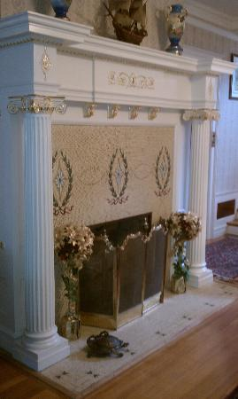 Seelye Mansion: One of the Fireplaces with Tiffany inlay