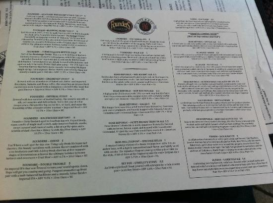 Kite & Key: Beer list for the day