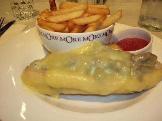 More Cafe : beef sandwich on a baguette baked with Dutch cheese, served with fries