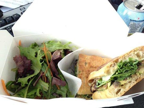 Sandwich Box: My veggie sandwich and side of greens.
