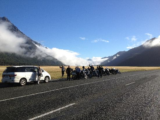 South Pacific Motorcycle Tours - Day Tours: On the way to Milford Sound