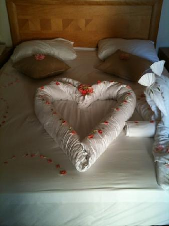 Liberty Hotels Lara: our bed decorated for our anniversary