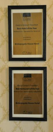 ‪‪Bishopsgate House Hotel & Restaurant‬: Awards‬