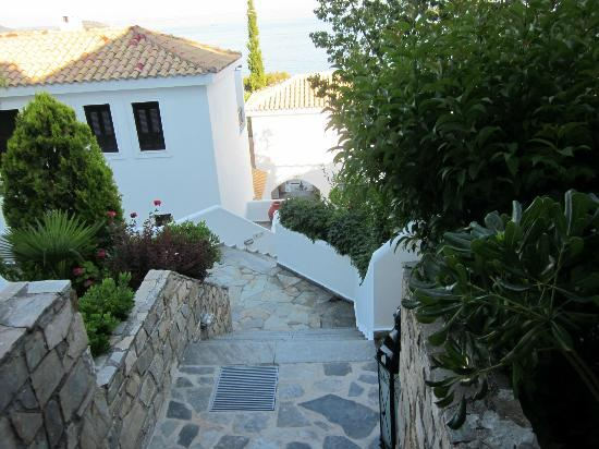 Aegean Suites: The steps from the top of the hotel