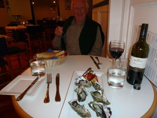 Only Seafood : Oyster starter and yes the Red wine did go well with Fish
