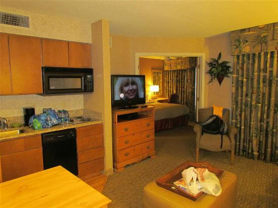 Homewood Suites by Hilton Indianapolis-Keystone Crossing: Living Room and the Bedroom