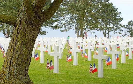 Omaha Beach: A tiny part of the cemetary, with the ocean behind it