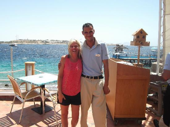 Lido Sharm Hotel : My wife with Mohamed, one of the lovely waiters.