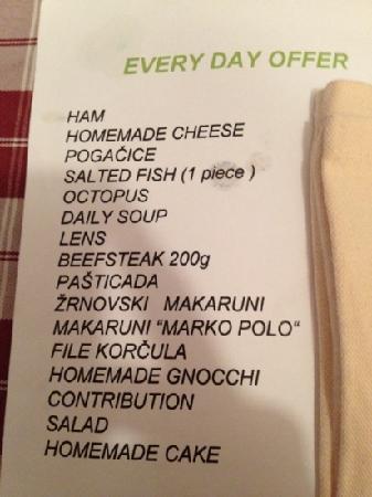 Konoba Maslina: menu - reasonable price and good portion size