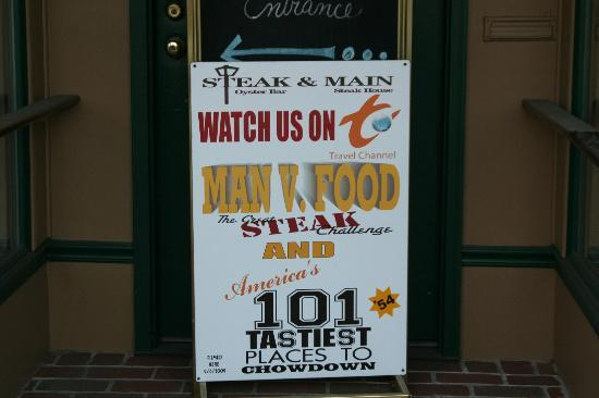 """Steak & Main: Sign showing the """"food show"""" taped there."""